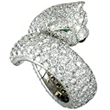 Luxury Bazaar Cartier Panthere 18K White Gold Diamond Pave Onyx & Emerald Bypass Ring
