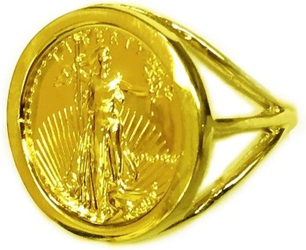 14 K oro 18 mm anillo de moneda con un 22 K 1/10 oz Americana Águila Moneda -1679 (año moneda al azar): Amazon.es: Joyería