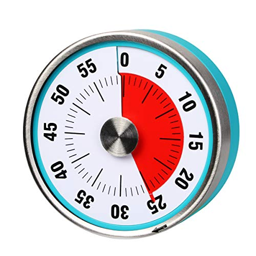 AIMILAR Magnetic Mechanical Kitchen Timer - 60 Minute Visual Countdown Timer With Loud Alarm for Kids and Adults Baking Cooking Steaming Barbecue (Blue)