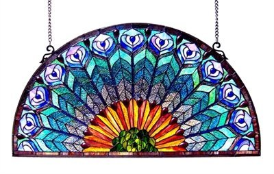 Chloe Lighting Peacock, Tiffany-Style Peacock Feather Glass Window Panel 35x18