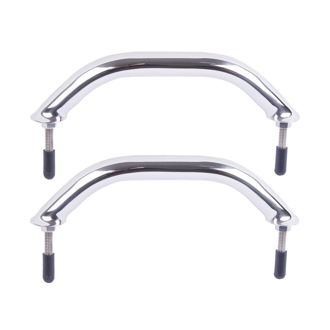 Polished Stainless Heavy Duty Oval Boat Marine Grab Handle Hand Rail with Flange & Stud - 8-5/8'' Long
