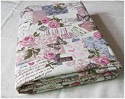 HomeBuy Vintage Chic French Rose Butterfly Cotton Linen Fabric 140Cm Wide