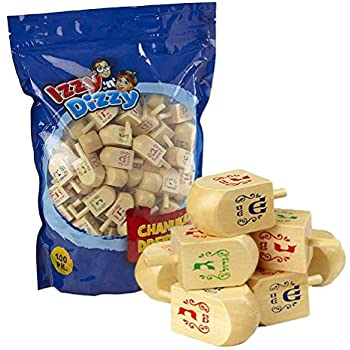 100 Medium Wood Dreidels - Classic Chanukah Spinning Draidel Game, Gift and Prize - Bulk Value Pack - By Izzy n Dizzy