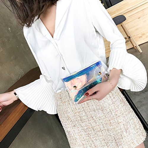 à bandoulière hologramme LUOEM sac bandoulière à sac brillante pour cuir les body à Sacs la Cross PU femmes taille nvwH70qrv