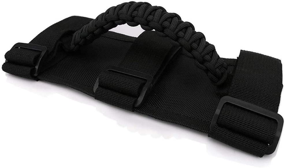 Jade Onlines Paracord Roll Bar Grab Handles Grip Handles Roll Bar Grab Handle Grip Fit for Jeep 1 Piece,Black UTV Strap Fits 2 to 3 Inch Bars for Most Jeep Wrangler Models 1986-2020 ATV