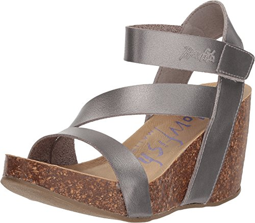 Blowfish Women's Hapuku Wedge Sandal (8 M US, Pearl Pewter Dyecut)