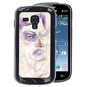 A-type Arte & diseño plástico duro Fundas Cover Cubre Hard Case Cover para Samsung Galaxy S Duos S7562 (Sketch Art Face Rustic Autoportrait)