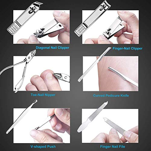 Manicure Pedicure Set Nail Clipper,Fomatrade 16 Pieces Stainless Steel Heavy Duty Nail Care AIDS -Fingernail Clippers,Toenail Clippers -Portable Travel & Grooming Kit Tools (Silver)