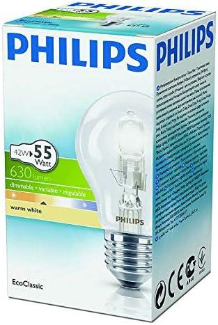 Philips Bombilla halógena (42 W = 55 W, GLS A55 ES E27