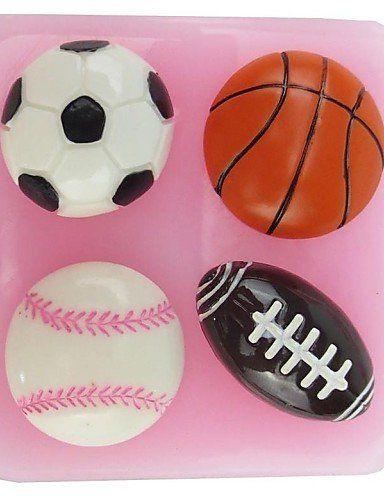 HJLHYL Basketball Football NFL Shaped Fondant Cake Chocolate Silicone Mold,Cupcake Decoration Tools,L6cmW6.1cmH1.8cm