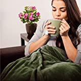 Bedsure Fleece Blanket Throw Blanket Olive Green