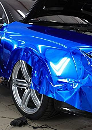 STRETCHABLE Chrom Blau f/ür 3D Verklebung Car Wrapping Spiegelfolie Chromfolie 3m x 1,52m