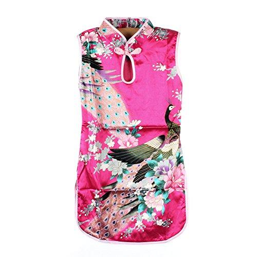 Weixinbuy Kid Girls Sleeveless Peacock Printed Chinese Cheongsam Dress Rose ()