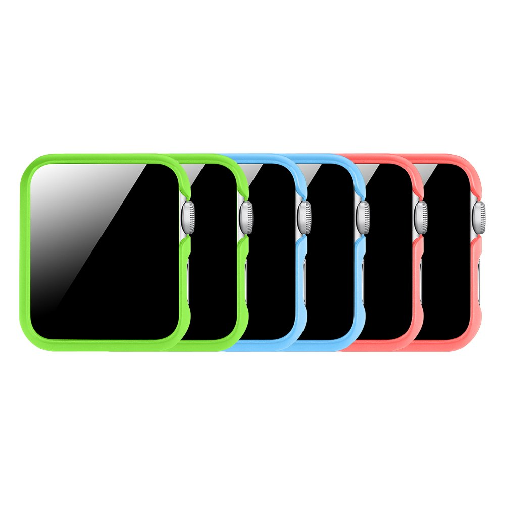[3 Color Pack] Fintie for Apple Watch Case 38mm, Slim Lightweight Polycarbonate Hard Protective Bumper Cover for All Versions 38mm iWatch Series 3 (2017), Series 2 1 Sport & Edition - Multi Color C by Fintie (Image #1)