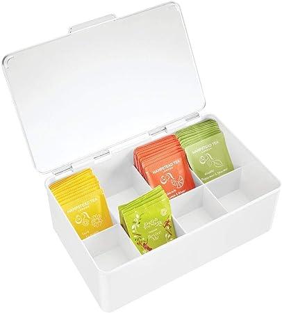 mDesign Organizador de cocina – Práctica caja de té con tapa para cocina y despensa – Caja de almacenaje con ocho compartimentos para té, café o especias – transparente: Amazon.es: Hogar