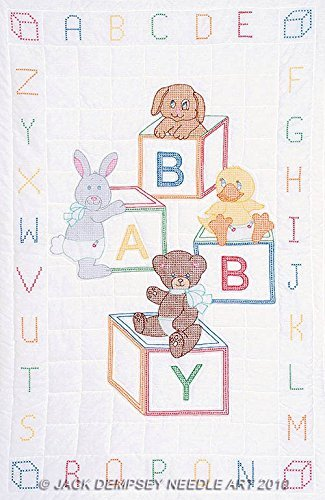 Jack Dempsey Needle Art 4060110 Crib Quilt, Top Baby Block, 40-Inch by 60-Inch, White