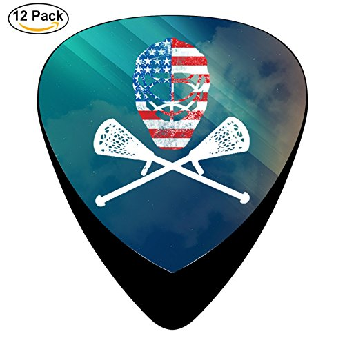 Sticks Crossed Lacrosse (STREMUSIC Funny Lacrosse Helmet Crossed Sticks Celluloid Electric Guitar Picks 12-pack Plectrums For Bass Music Tool)