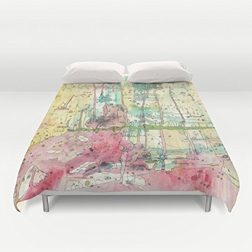 Image of Abstract mixed media art painting duvet cover bedroom accessories. 'Wonderland' by artist C.Cambrea.
