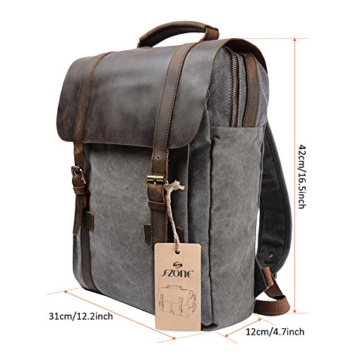 s zone retro canvas leather school travel backpack rucksack import it all. Black Bedroom Furniture Sets. Home Design Ideas