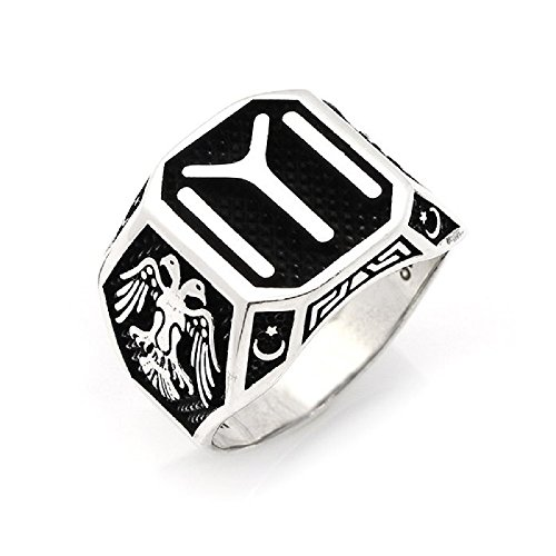 (Turkish Jewellery Ertugrul Dirilis Kayı Eagle 925K Sterling Silver Men's Ring 2)