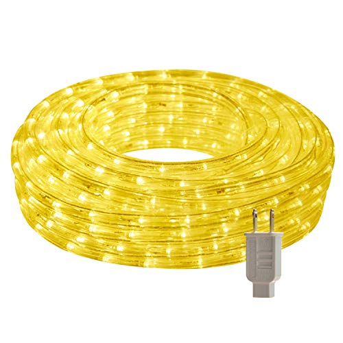 LED Rope Lights, 26.3ft Flat Flexible Light Strip, 3000K Warm White, Water Resistant for Both Indoor/Outdoor Use, Inter-Connectable, UL Certified, Decorative Lighting for Any Location.]()