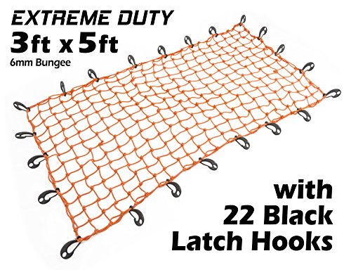 Hook Orange (3ft x 5ft PowerTye Mfg EXTREME Duty 6mm Bungee Elastic Cargo Net | Stretches to 60
