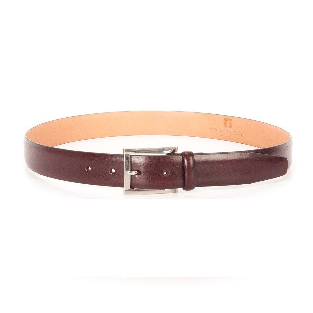 Trafalgar Men's Broderick Cortina Leather Skinny Dress Belt, Burgundy, 44