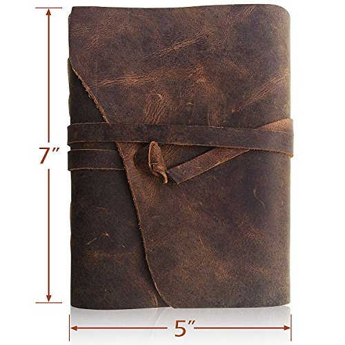 Bless Pure Soft Leather Journal Travel Diary Handmade Unlined Cream Paper Antique Quality Vintage Bound Notebook For Men Women  7  X 5   Rough Leather With Lace Curve Cut