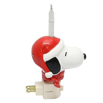 peanuts snoopy wearing santa hat swivel plug christmas bubble night light 164070