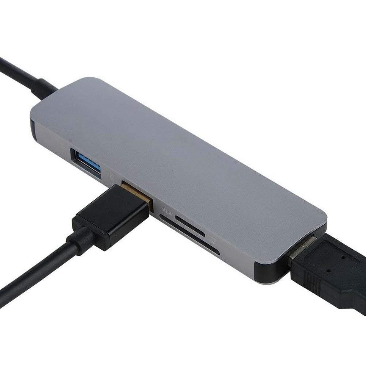 TF Dock Conector Multimedia Convertidor de Adaptador de concentrador USB 3.0 con 3 Puertos USB 3.0 y Adaptador de Lector de Tarjetas SD Plateado