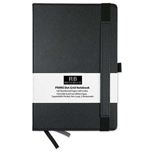 Primo Classic Dot Grid Notebook with Pen Loop / RICCO BELLO Hardcover, Fountain Pen Friendly, Banded, 2 Bookmarks, Expandable Pocket, Numbered Pages with Index / 5.7 x 8.4 inches (Executive Pocket)