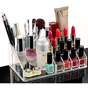 MOHAK Cosmetic Organizer 16 Compartment Makeup Jewellery Acrylic Lipstick Storage Organiser Box