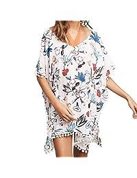 Swim Coverup,iBaste Women's White Floral Print Beach Blouse Swimsuits Kimono