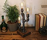 Industrial Steampunk table pipe lamp with Radio Edison bulbs and oak wood base