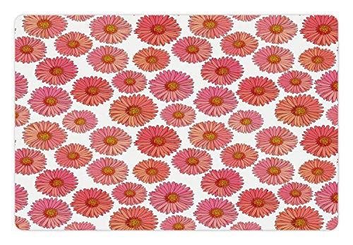 - Ambesonne Aster Pet Mat for Food and Water, Pink Blooms Flower Field Essence Fragrance Mother Nature Tropical Flourish, Rectangle Non-Slip Rubber Mat for Dogs and Cats, Pink Coral White