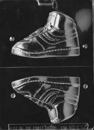Cybrtrayd Life of the Party K057 High Top Sneaker Left Foot Chocolate Candy Mold in Sealed Protective Poly Bag Imprinted with Copyrighted Cybrtrayd Molding Instructions