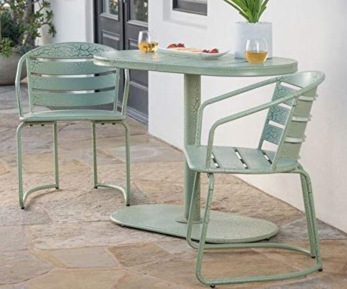 Luca Outdoor- Sunroom Furniture- Out Door Patio Furniture- Crackle Green Iron Three Piece Oval Set - Great for Summer Barbecues, Garden Parties, and Afternoons Spent Lounging