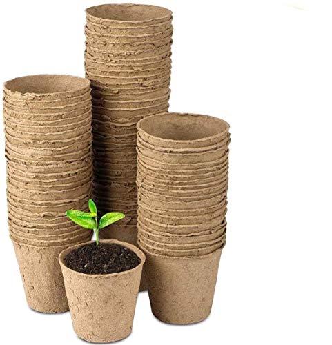 100PCS 6CM Seed Starter Pots, Peat Pots, Transplant Seedlings Pots, Organic Biodegradable Pots for Plant Starters…