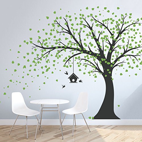 Wallums Large Windy Tree Wall Decal with Birdhouse - 96