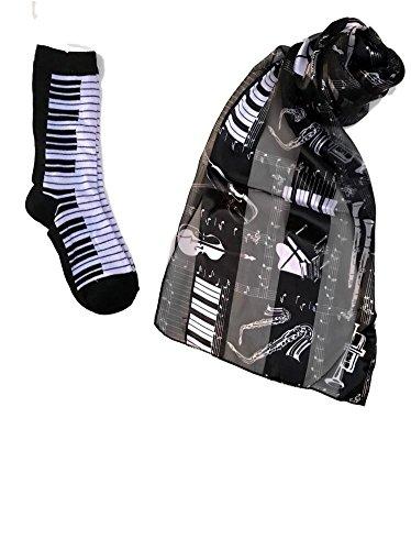 Musical Instrument Long Scarf & Piano Key Socks Black/White Size 9-11 (Black/White)