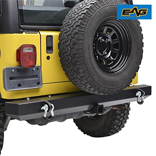 EAG 87-06 Jeep Wrangler YJ TJ Off Road Classic Rear Bumper with 2″ Hitch Receiver & D-Ring (51-0008)