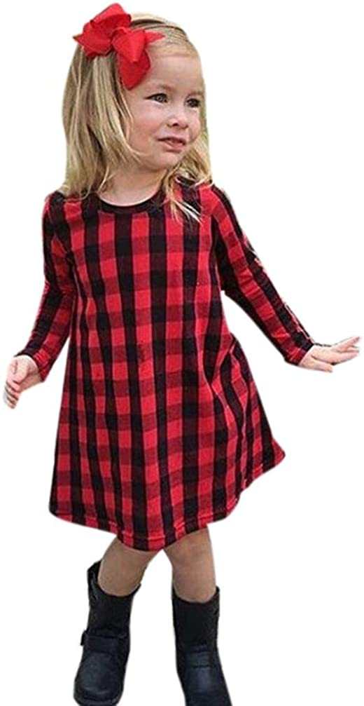 WARMSHOP Infant Toddler Princess Girls Long Sleeve Plaid Print Dress Outfits
