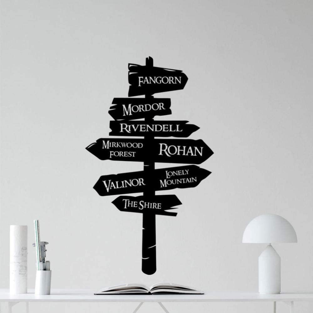 Gddyzs Lord of The Rings Wall Decal Tolkien Road Sign Vinyl Wall Sticker Interior Home Decor Living Room Movie Murals Removable 55X93Cm