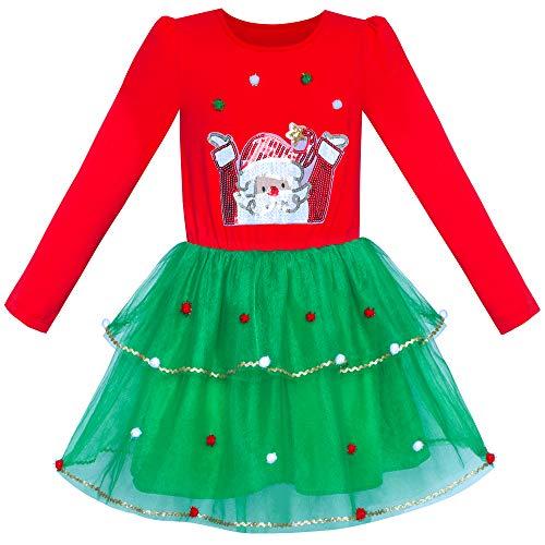 Sunny Fashion Girls Dress Christmas Santa Long Sleeve Party Dress Size 7