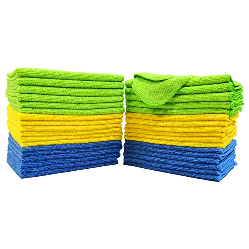 Polyte Microfiber Cleaning Cloth, 12 x 16 in, Blue, Green, Yellow, 36 Pack