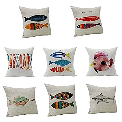 FORUU Throw Pillowcase, Fish Vintage Cotton Linen Pillow Case Covers Cushion Home Sofa Decor