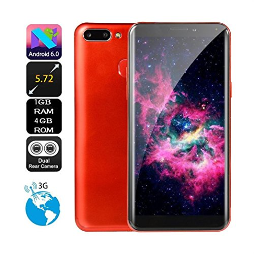 Connia 5.72 inch Quad Core Dual HD Camera Smartphone Android IPS FULL Screen GSM/WCDMA 1G RAM+4GB ROM Touch Screen WIFI BT GPS 3G Call Mobile Phone (3g Red Phone)
