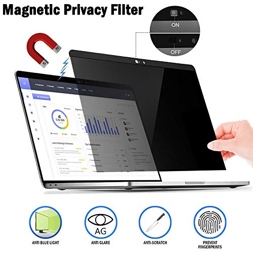 Magnetic Privacy Laptop Screen Filter for MacBook Pro 15 - Anti Glare & Anti Blue Light Privacy Screen Filter with Webcam Cover Compatible MacBook pro 15.4 inch (15.4in) (Best Screen For Macbook Pro 2019)