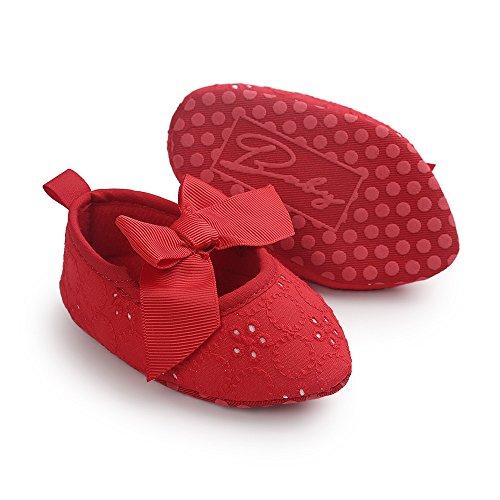 Estamico bebé niñas 'mary Jane soporte de zapatos zapatos de Prewalker suave Suela de bebé con lazo y punta Toe rojo rosso Talla:6-12 meses Rosso