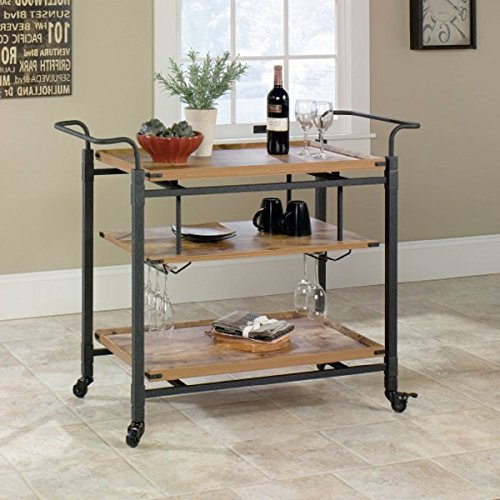 Antiqued Black And Pine Finish Easy-Roll Casters 3 Shelves For Storage And 2 Hanging Racks Hold Stemware Rustic Country Bar Cart, Dimensions 44.961Wx19.488Dx33.937H from Better Homes and Gardens